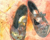 Michelle's School Shoes, mixed media altered print