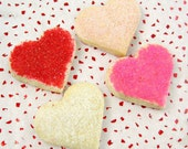 2 Dozen SMALL Valentines Day Cookies  - Small Shortbread Hearts  - You Choose Flavor & Colors - Valentine's Day Cookie Gift