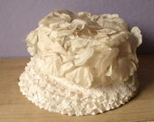 women's spring flower hat, ivory, vintage fashion, floral