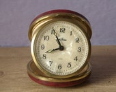 vintage mother of pearl travel clock, Seth Thomas, Germany, leather case, wind up, desk clock, alarm, pittsburgh