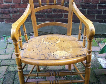 Antique 1860's captain's chair, Antique Victorian Furniture, antique chair, Pittsburgh wood chair, armchair, dining room bedroom furniture