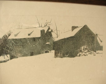 Vintage 1960's Andrew Wyeth art print framed, Brinton's Mill, 1962, The Four Seasons portfolio, Country farm decor, Winter art print