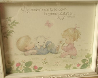 Vintage Precious Moments Print Framed, Psalm 23, Nursery decor, Children's Boy's Girl's bedroom decor, Religious Catholic art print,