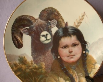 Vintage Pride of America's Indians collectible plate, Greg Perillo Noble Companions, 1986, girl and ram, native southwest indian decor