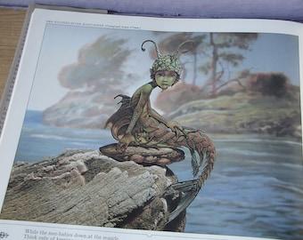 vintage Fantasy art print book, Hallelujah Anyway, Patrick Woodroffe, mermaids, merlin wizards, fairies, fish, Mythopoeikon, harry potter