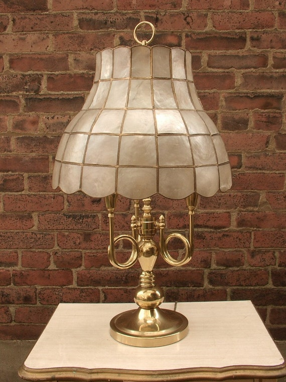 vintage brass lamp, French bouillette style, with vintage kapa shell shade, table lamp