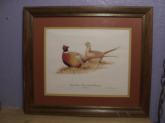 bird print wall hanging, framed, R. L. Kothenbeutel, pheasants, limited edition. 1984, pencil signed, woodland birds, hunting