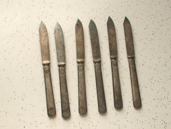 antique silver plated flatware knives set, vintage thanksgiving dinner, fish knife