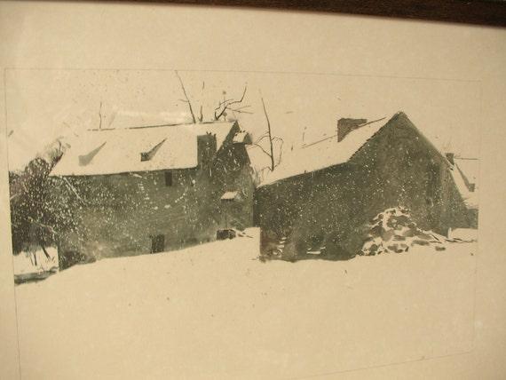 Vintage 1960's Andrew Wyeth art print framed, Brinton's Mill, 1962, The Four Seasons portfolio, Country farm decor, Winter art print