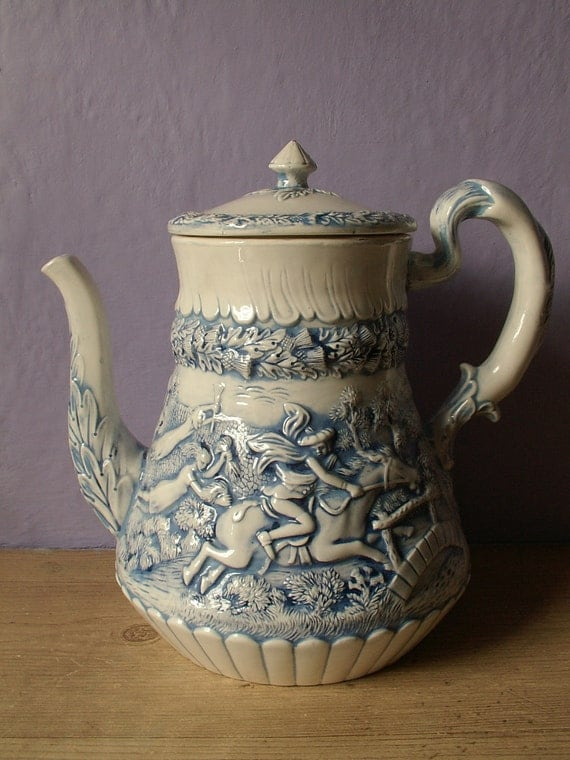 Vintage blue and white ceramic coffee pot, 3-D bas relief pottery, LARGE, Danish Dutch image, blue and white teapot