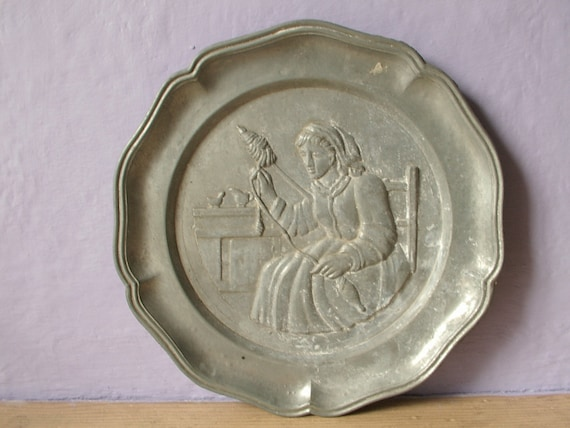 Antique Pewter Plate Victorian Woman Knitting By Shoponsherman