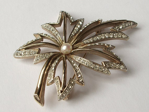 vintage designer R. Mandle jewelry, rhinestone maple leaf brooch pin, 1960's, wedding bridal brooch, bridesmaid jewelry