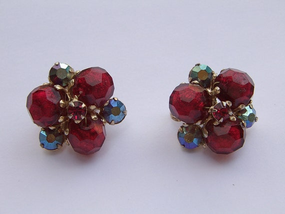 vintage 1950's Vogue jewelry red clip-on earrings, aurora borealis plastic beaded earrings, Valentine's day gift for her