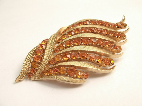 Vintage 1960's Corocraft orange rhinestone brooch pin, gold enamel, costume jewelry, art nouveau art deco brooch, wedding gift for bride
