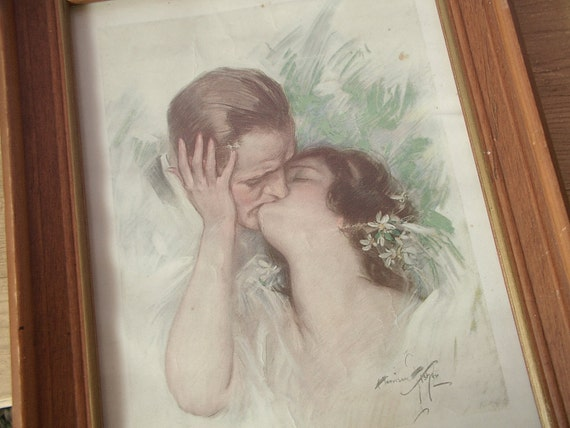 wedding kiss art print, vintage 1922 Cosmopolitan magazine cover, To have and to hold, antique, framed, love, 1920's