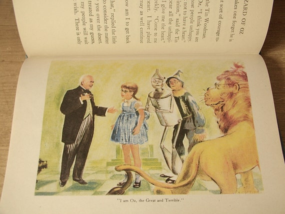 vintage 1940's children's fairy tale book, The Wizard of Oz, 1944, illustrated, dorothy, Judy Garland