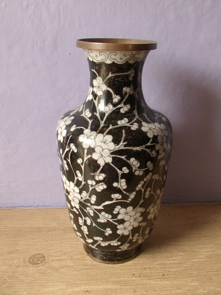 Black White Vase Antique Cloisonne China Brass By