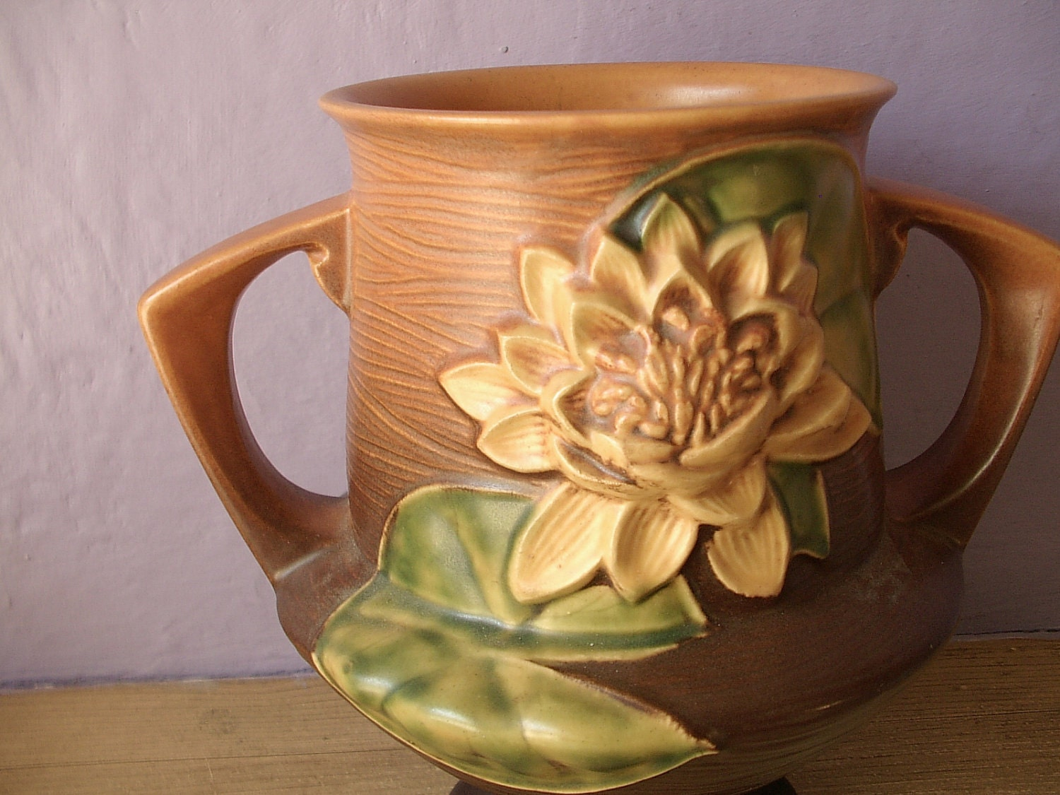 Vintage 1940 S Roseville Pottery Water Lily By Shoponsherman