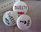 Sweet Hand Painted 'I Love You' Button
