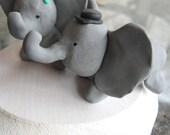 Elephants in Love Wedding Cake Toppers