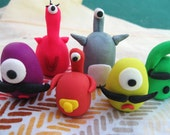 SALE - SET OF 7 Li'l Monsters Birthday Cake Kids Caketoppers Figurines desk ornaments