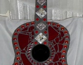 SOLD- Mosaic  Dark Red Guitar - Stained Glass - Beads - Pendants - OOAK - Must See