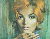 "Beautiful Vibrant Turquoise & Chartreuse 1960's ""Sara"" Cheesecake print / lithograph - artist Louis Shabner"