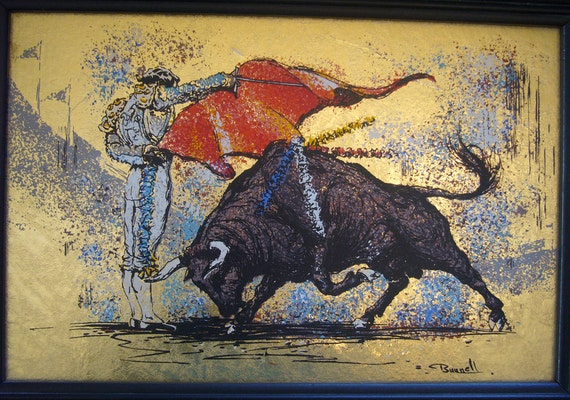 RESERVED - Pair of 1950's Matador / Bullfighter Hand Painted Silk Screened & Gold Leaf Paintings / Art Prints by Bunnell