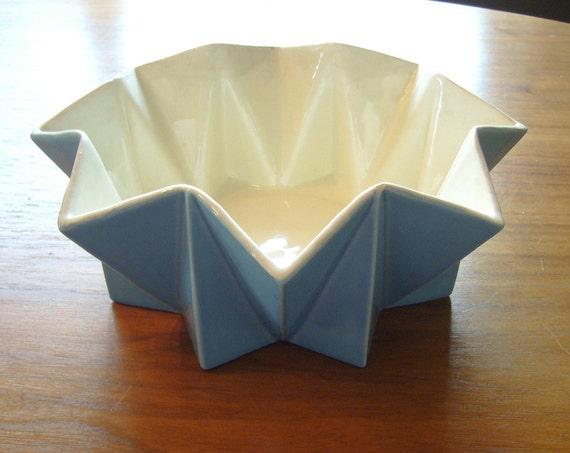1960's Belle Kogan Prismatique Planter/Bowl - Turquoise / Aqua - 790 - Red Wing Pottery
