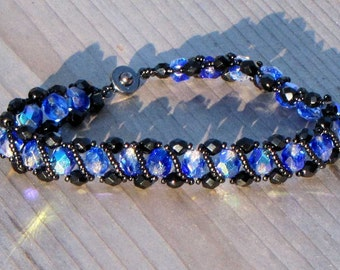 "7 1/2"" Black and Blue Crystal Bracelet - Helix Bracelet - Beaded Woven Dressy Bracelet"