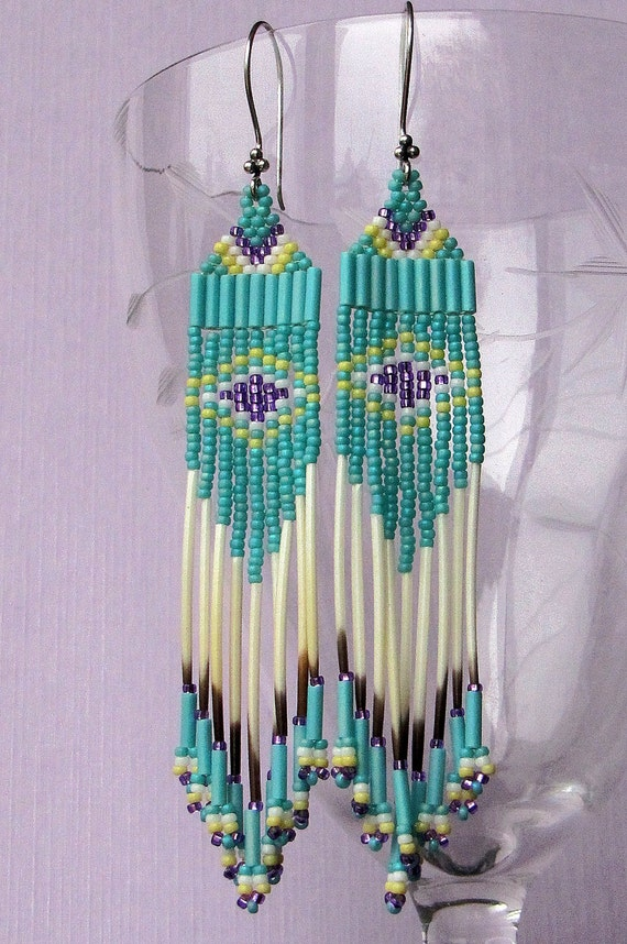 Turquoise Green Porcupine Quill Earrings - Long Quill Earrings