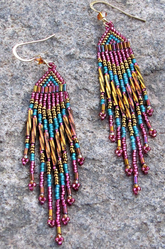 Long Green Gold and Burgundy Earrings - Bead-Woven