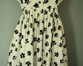 Fun Early 1960's White & Black Flowered Empire Waist Retro Dress