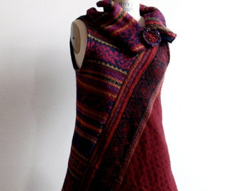 asymmetrical blood red jumper  - upcycled