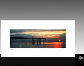 Ocean Sunrise Photography, panoramic matted print, ocean city md, limited edition, ready for 10x20 frame