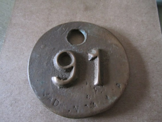 Industrial Brass Number 91 Tag