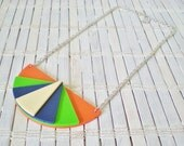 Neon Colorblock Geometric Bib Necklace Tangerine Cobalt Lime Green Cream