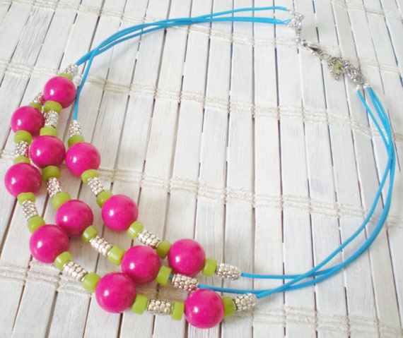 Neon Beaded Strands Necklace Magenta Electric Blue Lime Green