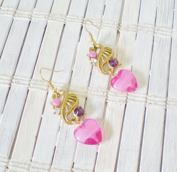 Pink Heart & Purple Rhinestone Earrings Recycled Vintage Dangles