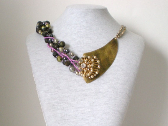 Upcycled Beads Statement Necklace OOAK Violet Moss Green