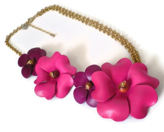 Magenta Pink & Royal Purple Floral Necklace OOAK Fashion Jewelry Statement Necklace Leather Flowers