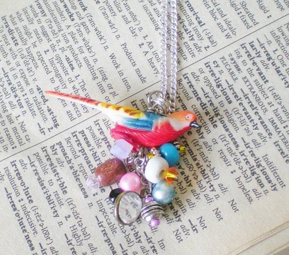 Exotic Bird Necklace Everyday Fashion Upcycled OOAK Birds of Paradise Collection