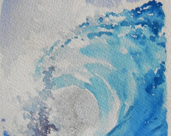 Original Watercolor Landscape - Big Curl Wave