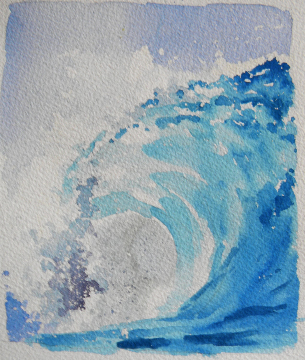 Big Canvas Art Modern Watercolor Abstract Ink Splash Big: Original Watercolor Landscape Big Curl Wave