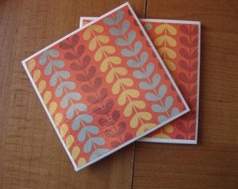 GROOVY ORANGE - Ceramic Coasters - set of 4