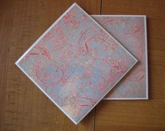 PINK PAISLEY - Ceramic Coasters - set of 4