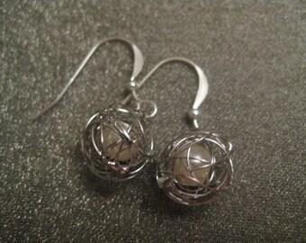 Sterling Silver White Pearl in Vine Earrings
