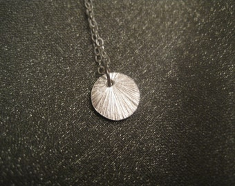 Sterling Silver Textured Disc Necklace