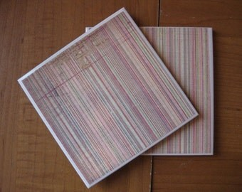 WORNOUT PINK STRIPES - Ceramic Coasters - set of 4
