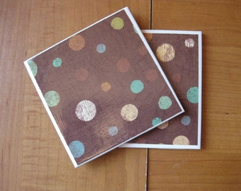 PRETTY POKA DOTS - Ceramic Coasters - set of 4